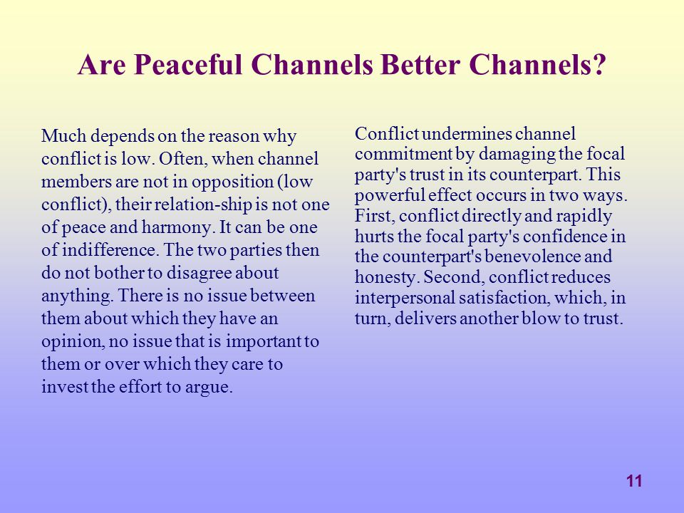 Are Peaceful Channels Better Channels