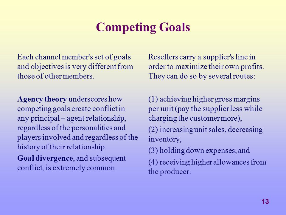 Competing Goals Each channel member s set of goals and objectives is very different from those of other members.