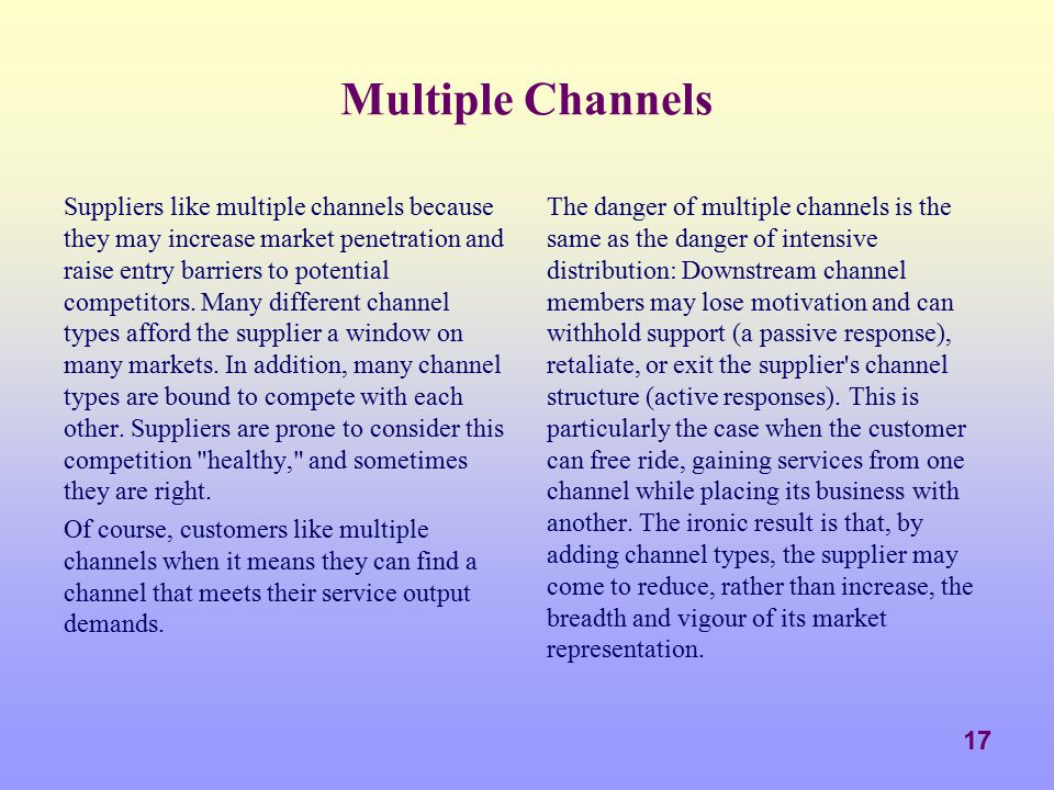 Multiple Channels