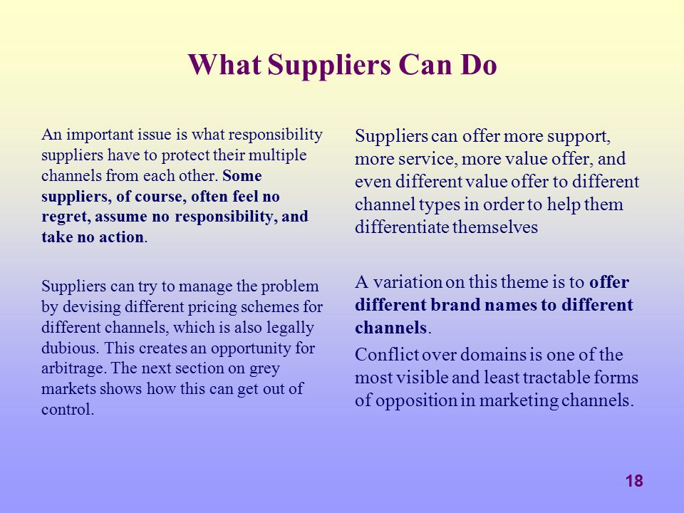 What Suppliers Can Do