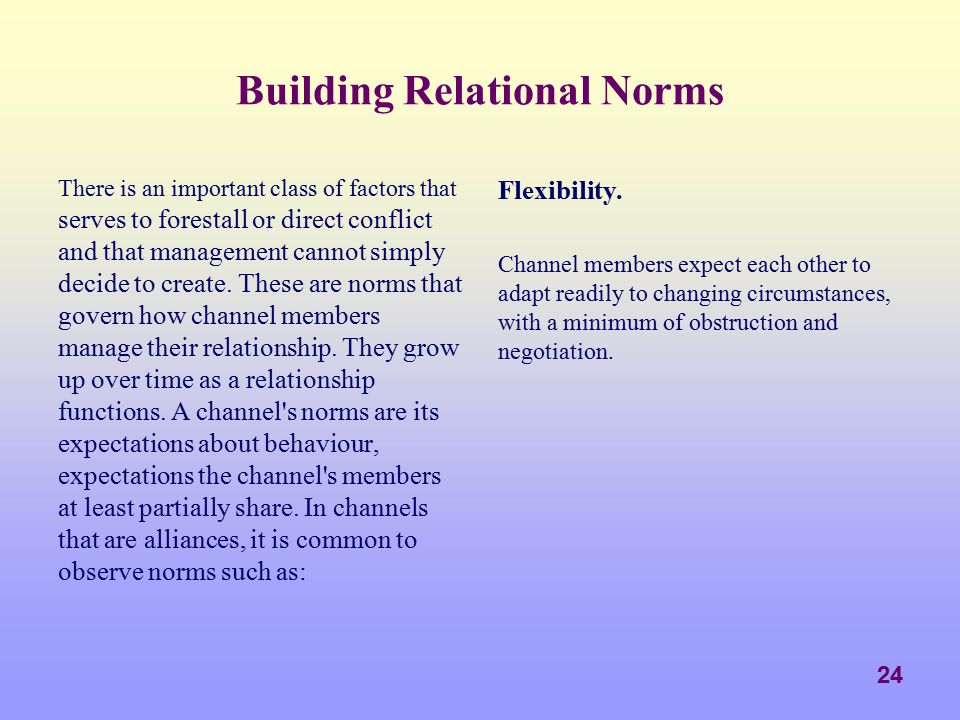 Building Relational Norms