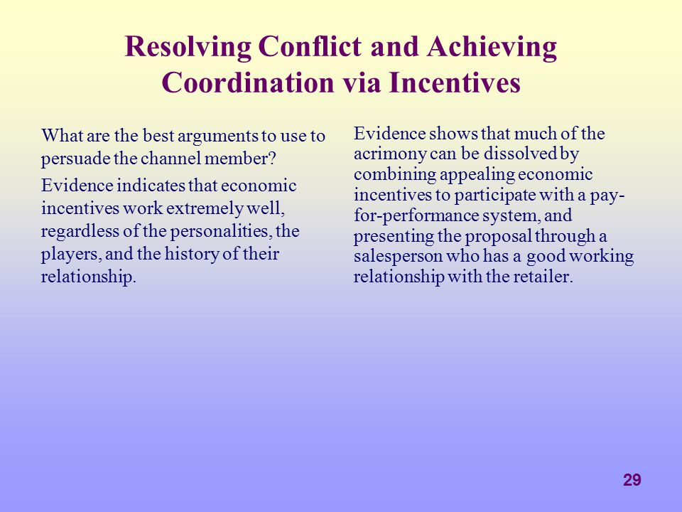 Resolving Conflict and Achieving Coordination via Incentives