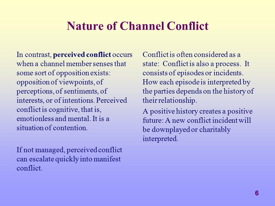 Nature of Channel Conflict