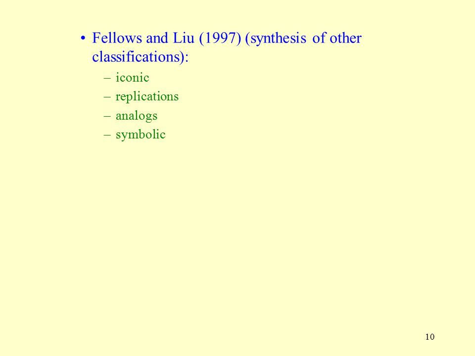 Fellows and Liu (1997) (synthesis of other classifications):
