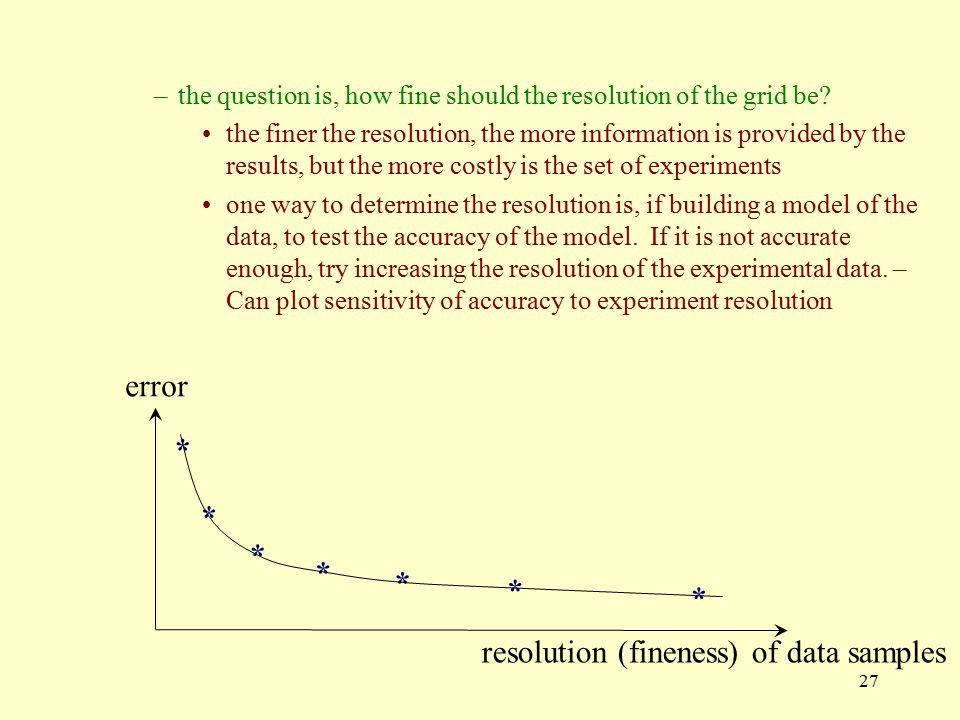 resolution (fineness) of data samples