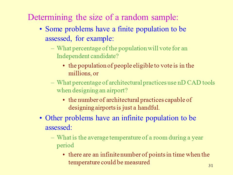 Determining the size of a random sample: