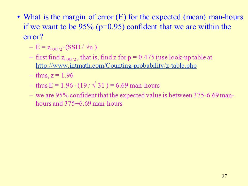 What is the margin of error (E) for the expected (mean) man-hours if we want to be 95% (p=0.95) confident that we are within the error