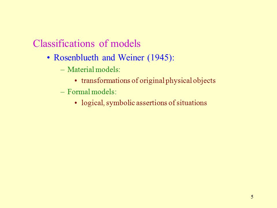 Classifications of models