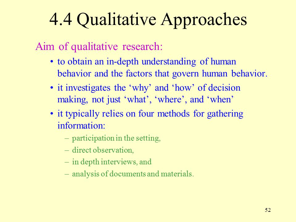 4.4 Qualitative Approaches