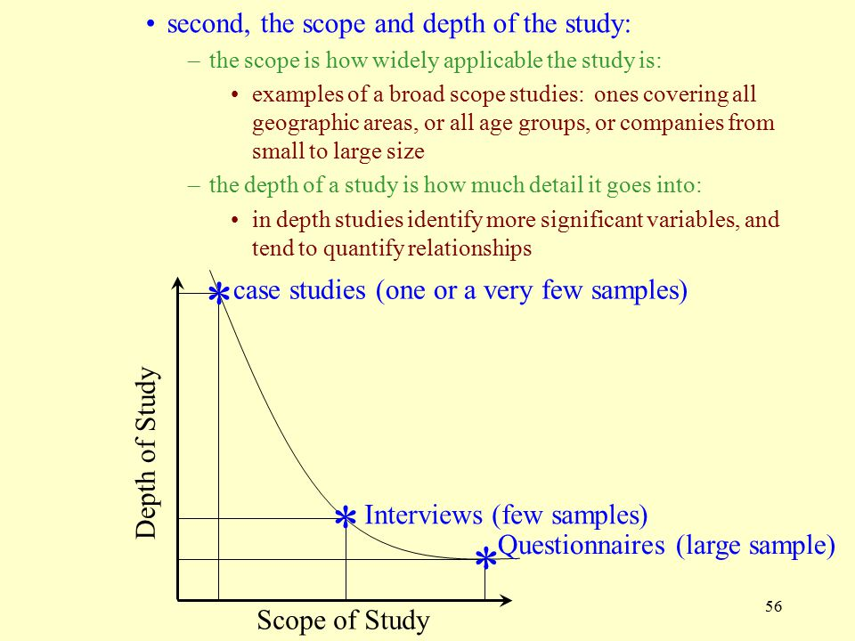 * * * second, the scope and depth of the study: