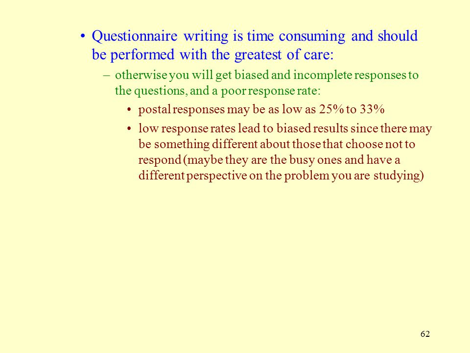 Questionnaire writing is time consuming and should be performed with the greatest of care: