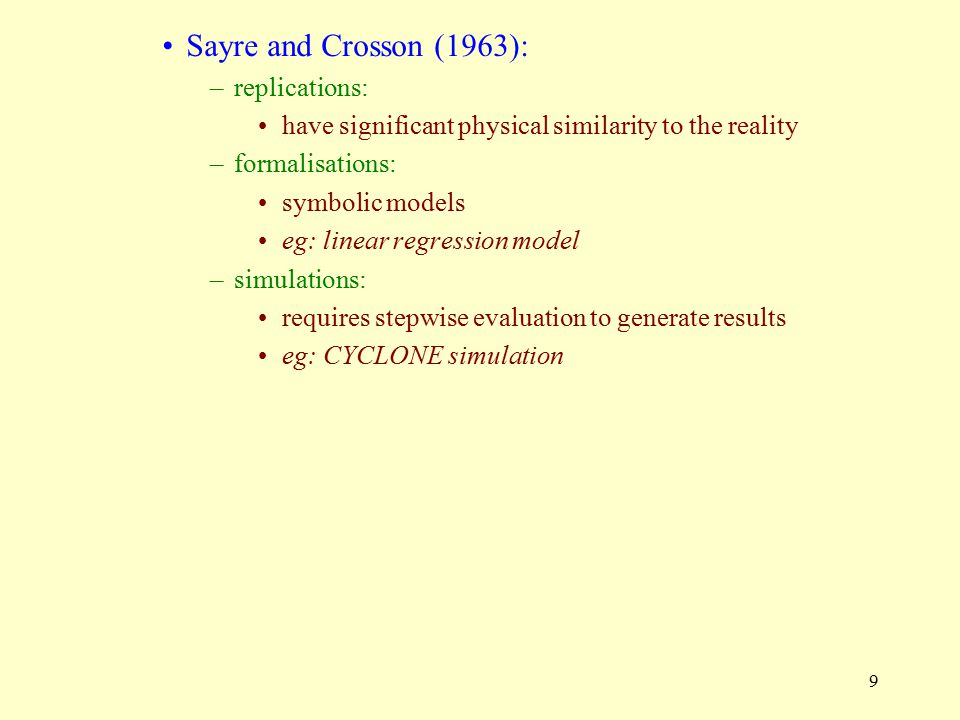Sayre and Crosson (1963): replications: