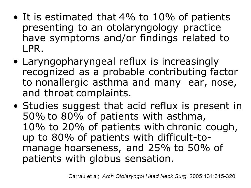 It is estimated that 4% to 10% of patients presenting to an otolaryngology practice have symptoms and/or findings related to LPR.