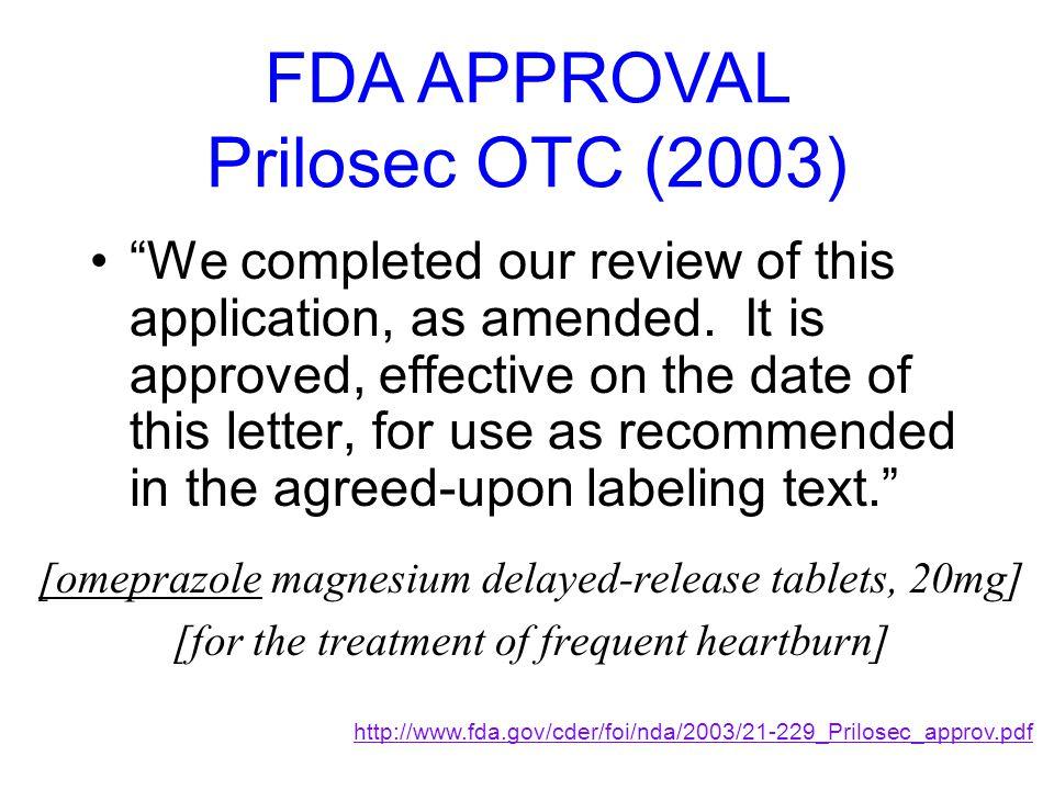 FDA APPROVAL Prilosec OTC (2003)