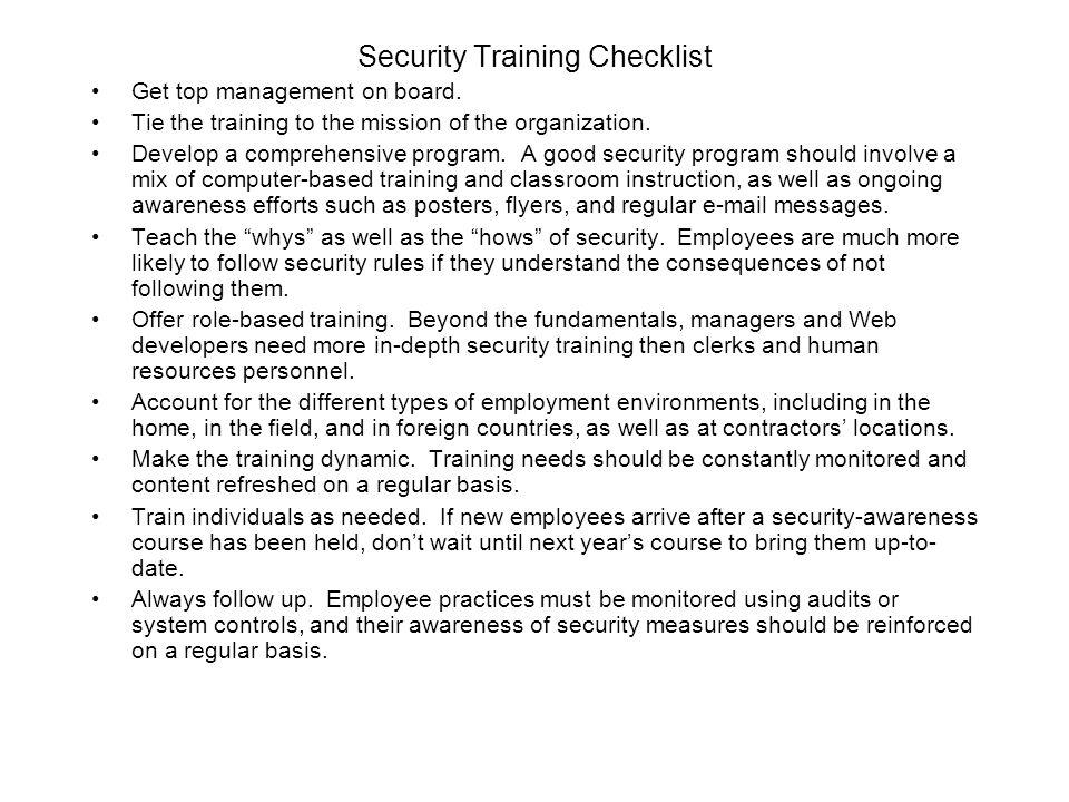 Security Training Checklist