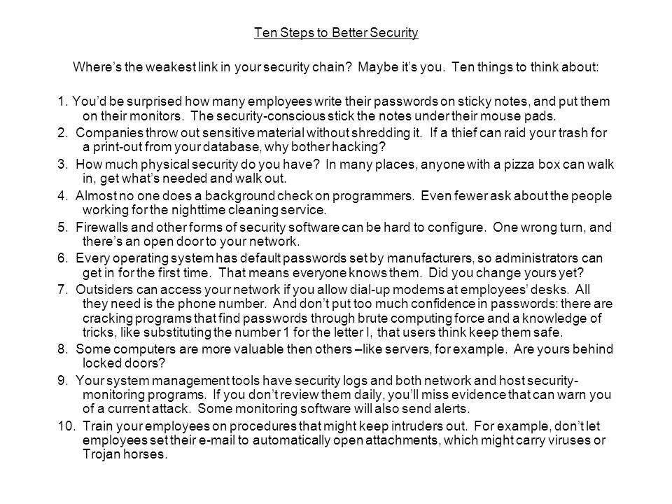 Ten Steps to Better Security