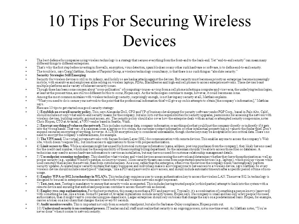 10 Tips For Securing Wireless Devices