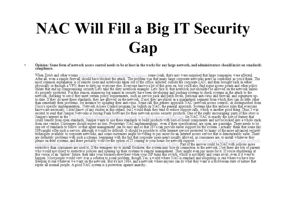 NAC Will Fill a Big IT Security Gap