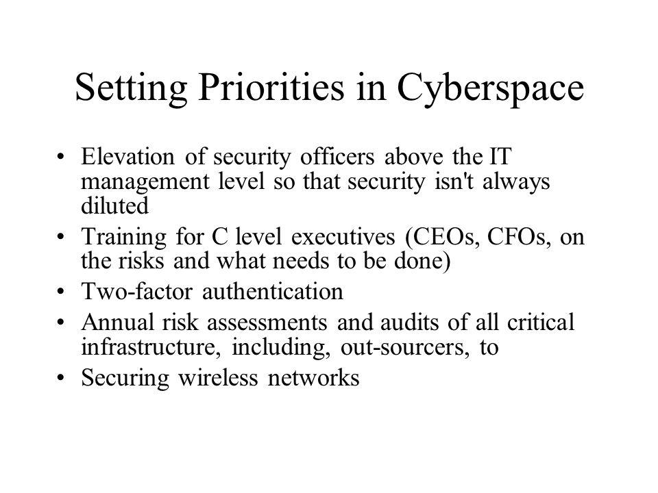 Setting Priorities in Cyberspace