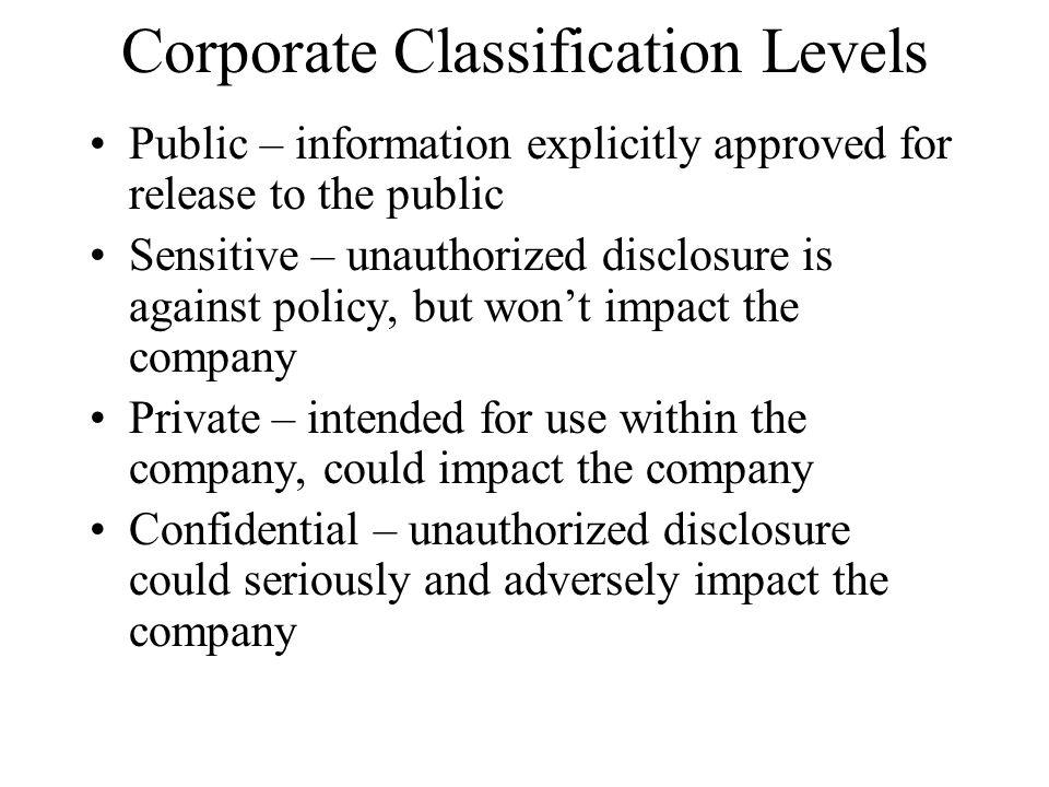 Corporate Classification Levels