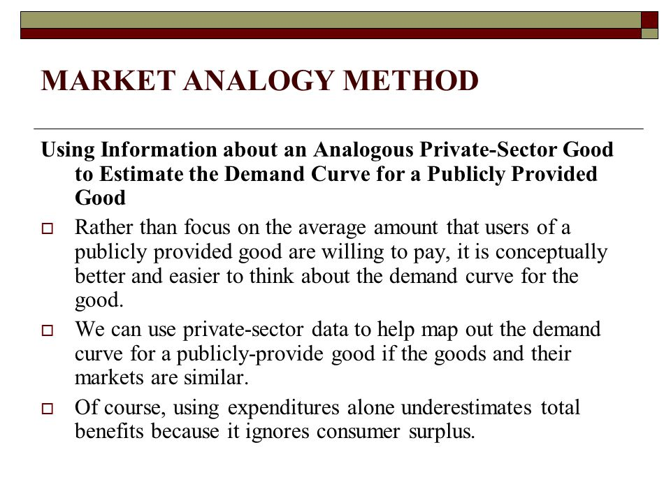 MARKET ANALOGY METHOD Using Information about an Analogous Private-Sector Good to Estimate the Demand Curve for a Publicly Provided Good.