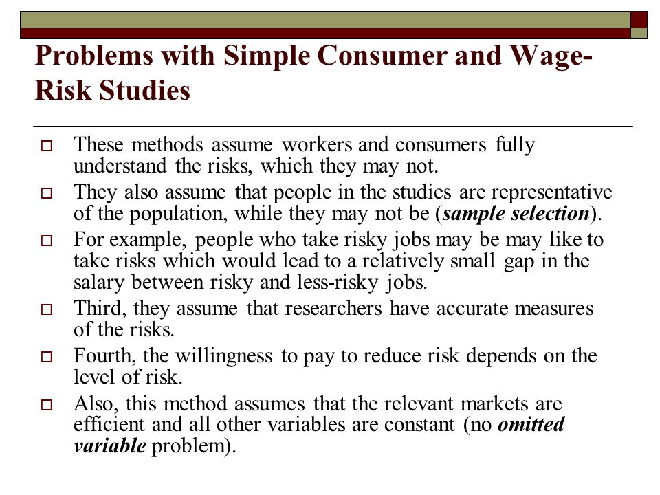 Problems with Simple Consumer and Wage-Risk Studies