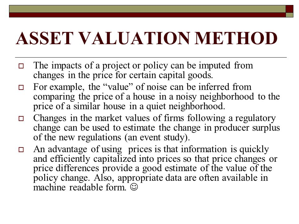 ASSET VALUATION METHOD