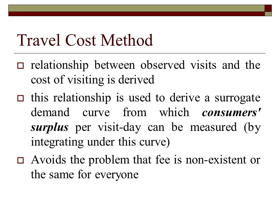 Travel Cost Method relationship between observed visits and the cost of visiting is derived.