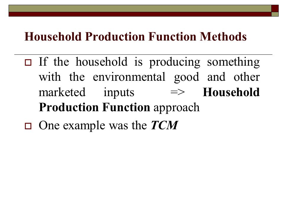 Household Production Function Methods