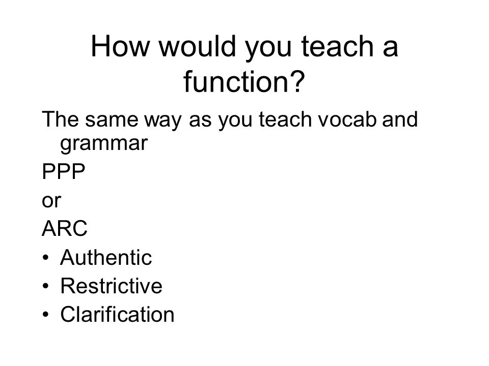 How would you teach a function