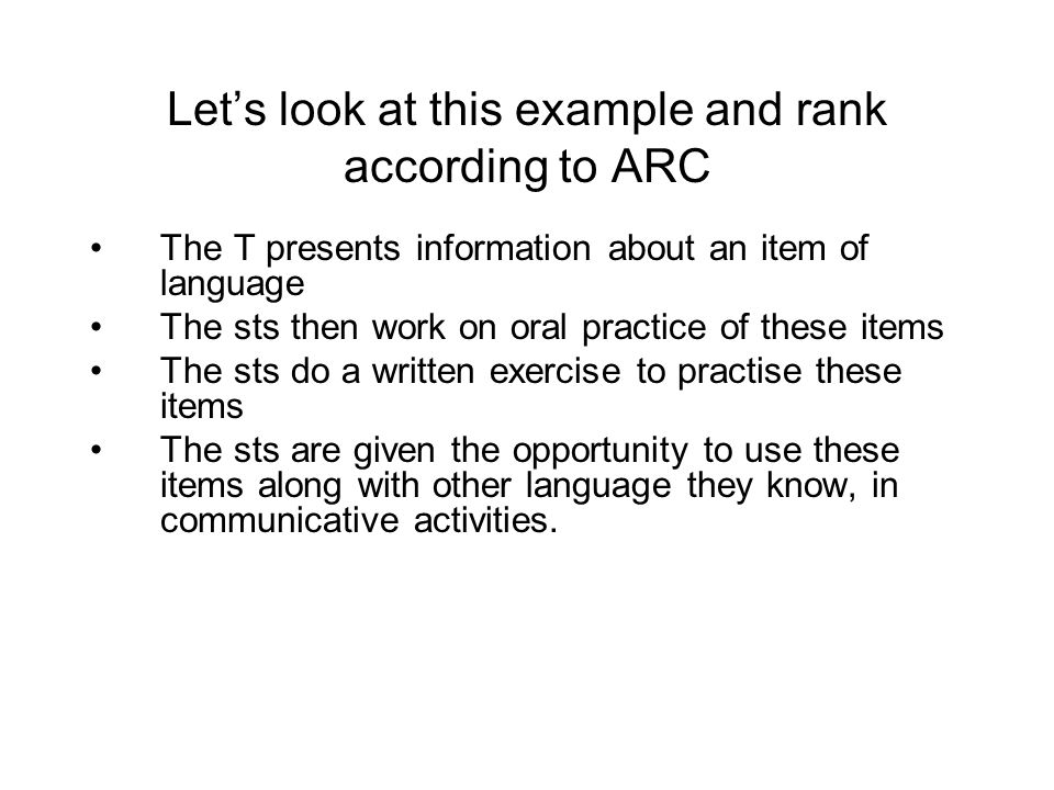 Let's look at this example and rank according to ARC
