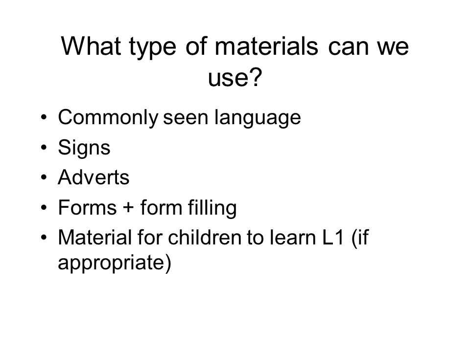 What type of materials can we use