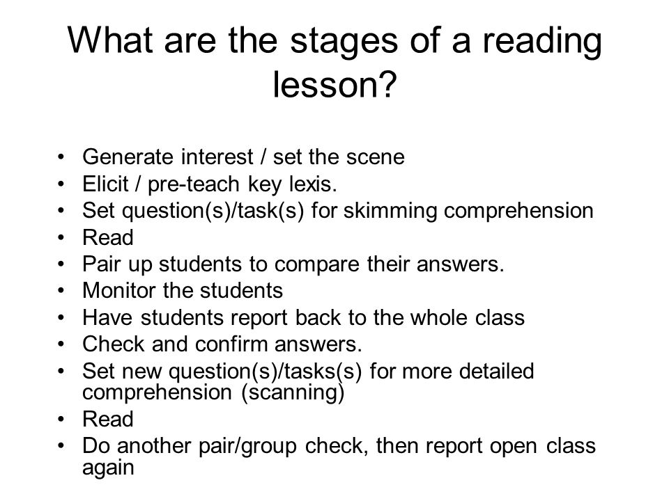 What are the stages of a reading lesson