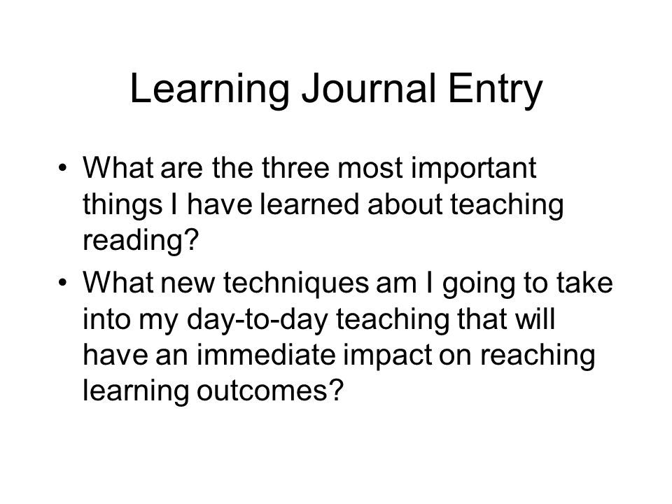 Learning Journal Entry