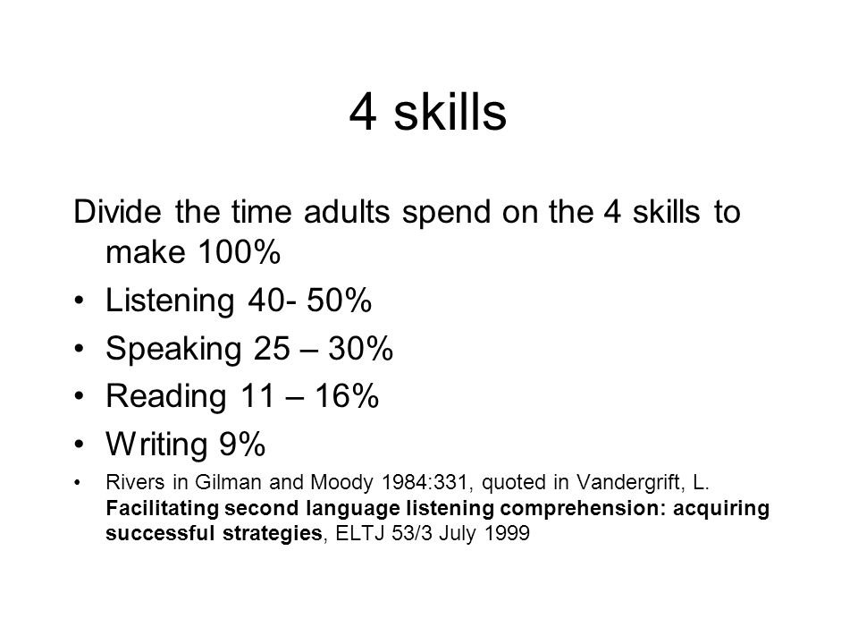 4 skills Divide the time adults spend on the 4 skills to make 100%