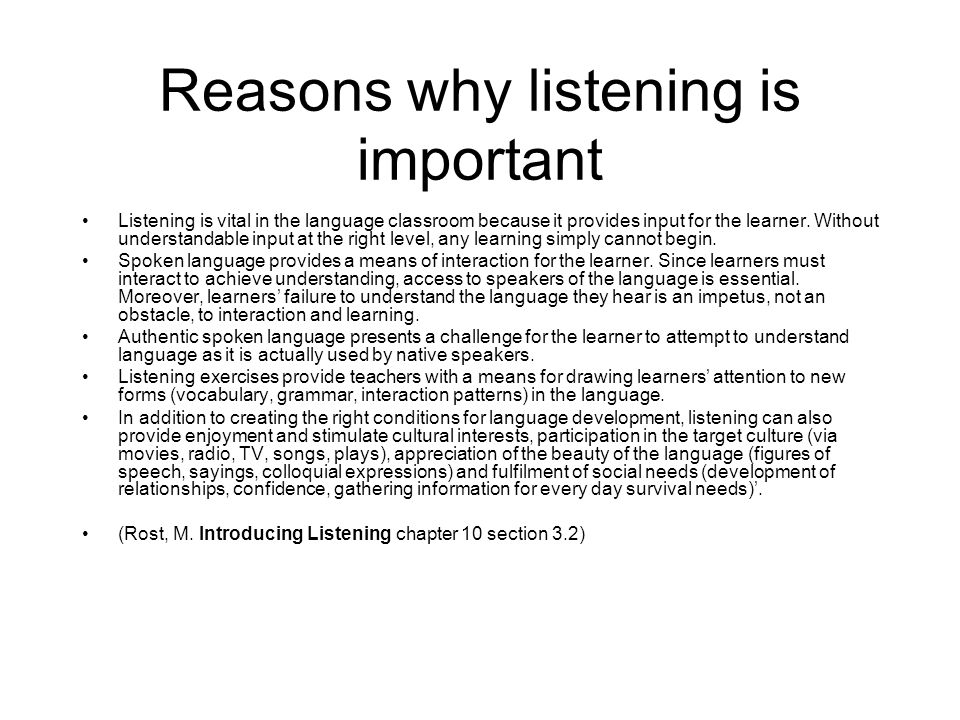 Reasons why listening is important