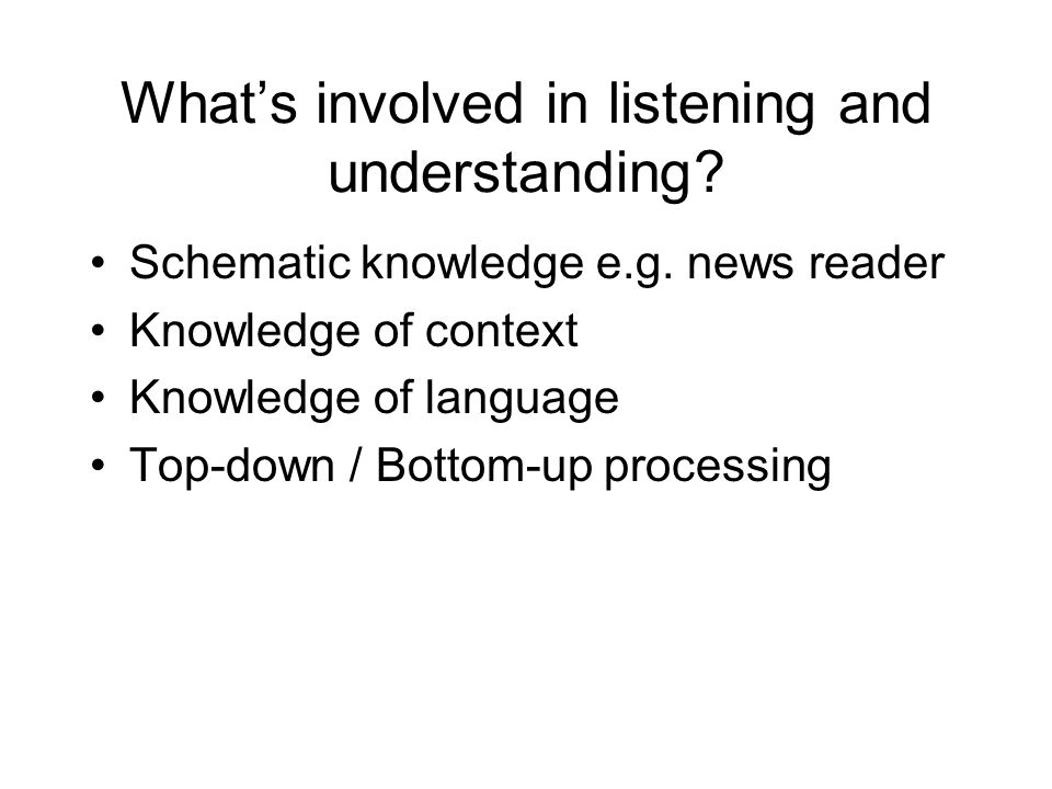 What's involved in listening and understanding