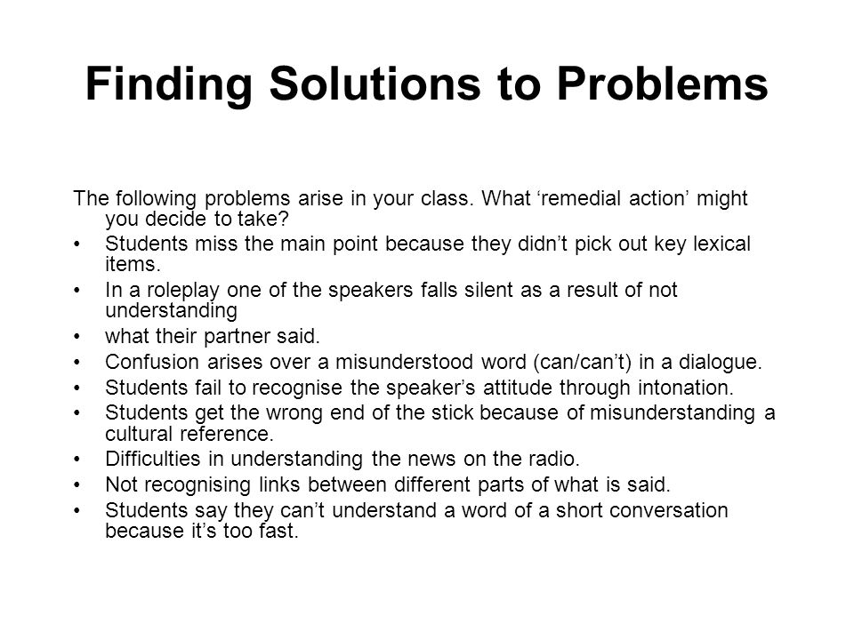 Finding Solutions to Problems