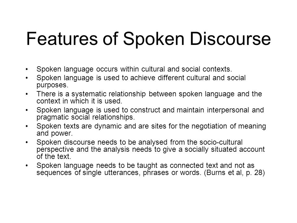 Features of Spoken Discourse