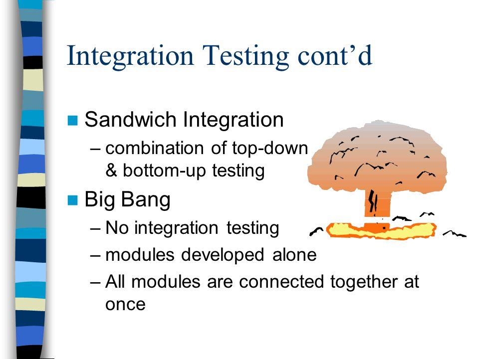 Integration Testing cont'd
