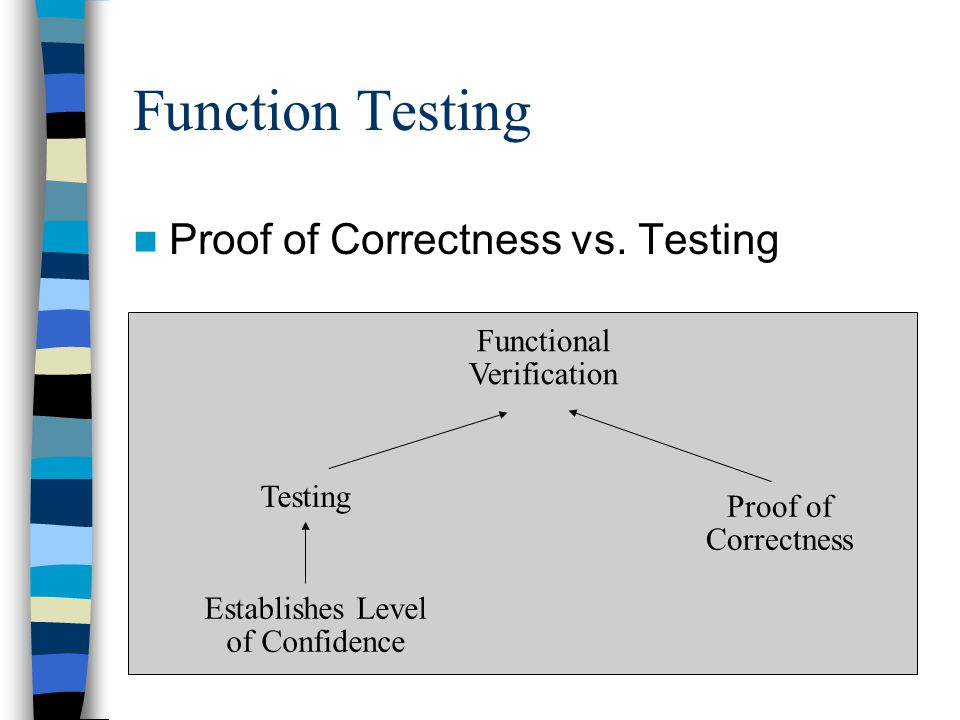 Function Testing Proof of Correctness vs. Testing Functional