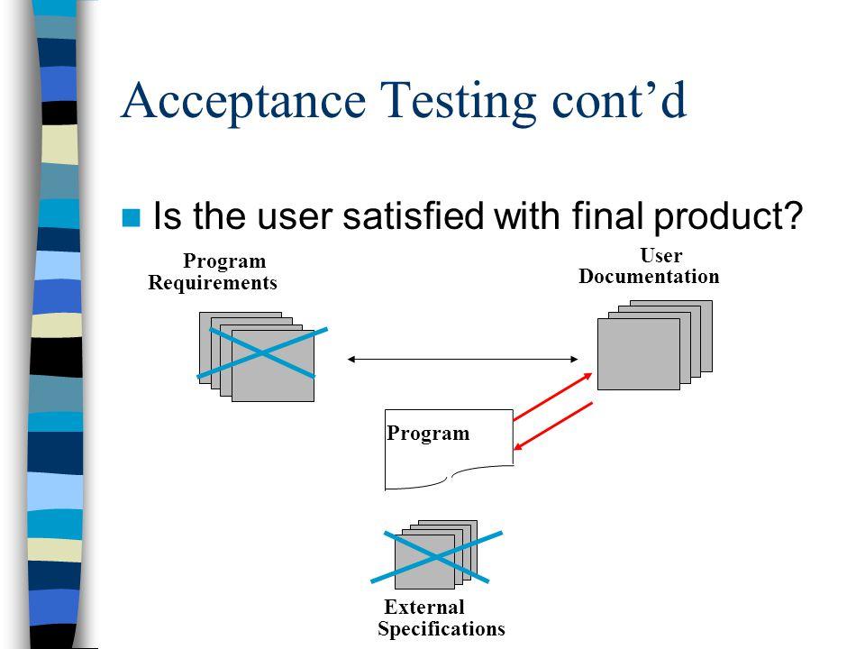 Acceptance Testing cont'd