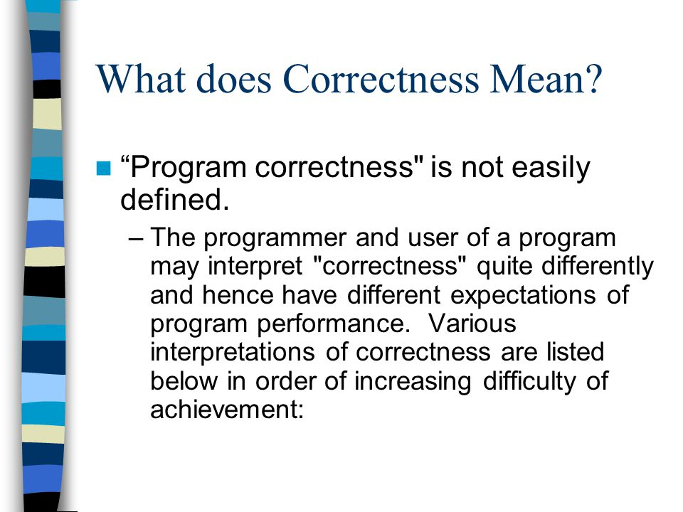 What does Correctness Mean