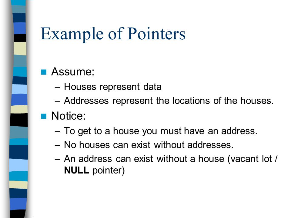 Example of Pointers Assume: Notice: Houses represent data
