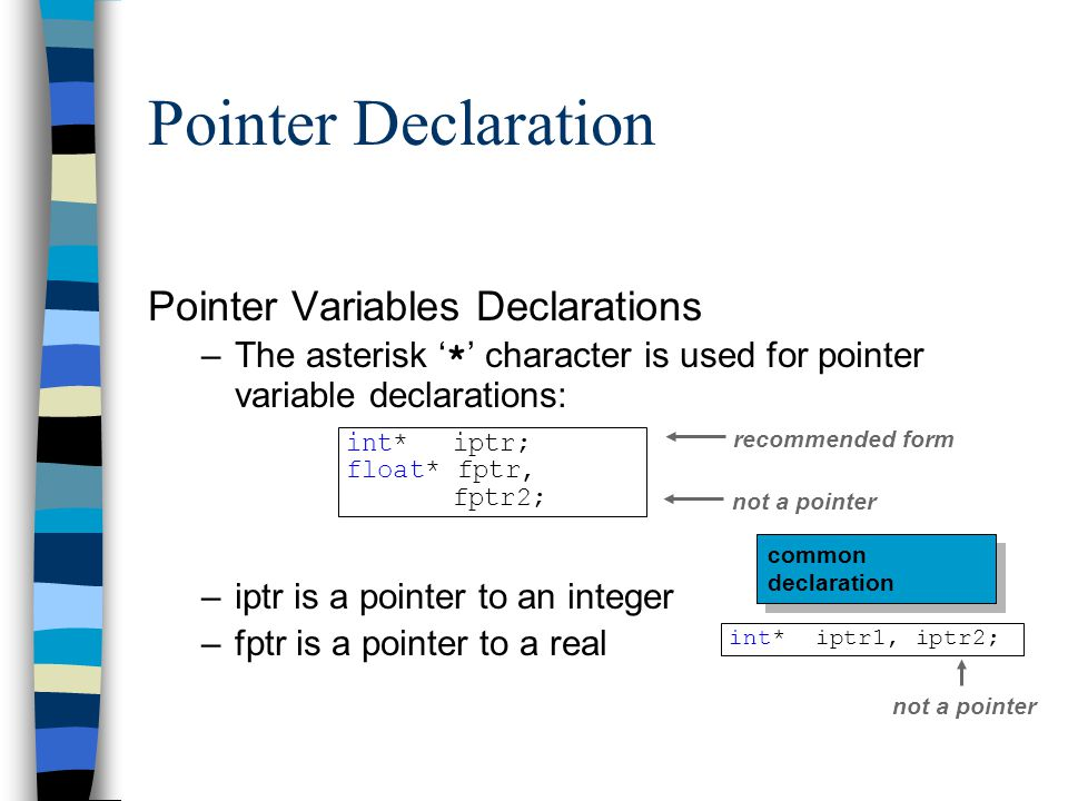 Pointer Declaration Pointer Variables Declarations