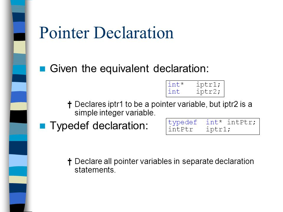 Pointer Declaration Given the equivalent declaration:
