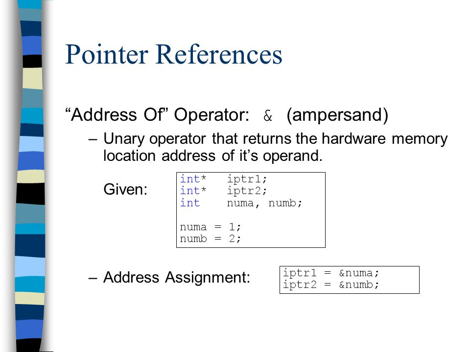Pointer References Address Of Operator: & (ampersand)
