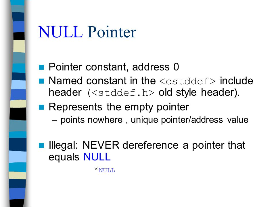 NULL Pointer Pointer constant, address 0