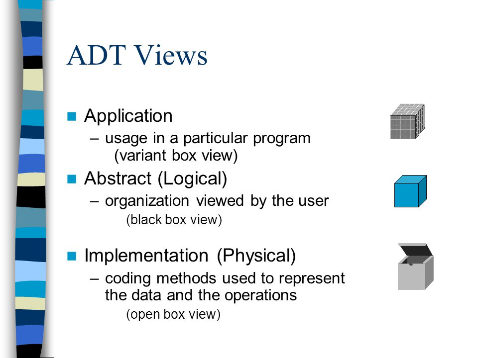 ADT Views Application Abstract (Logical) Implementation (Physical)