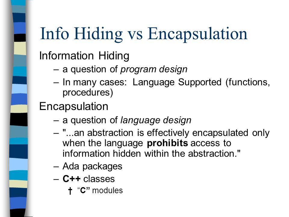 Info Hiding vs Encapsulation